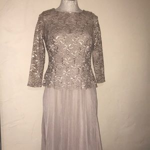 Jackie Jon New York taupe sequin long gown dress